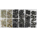 Assortment of body screws and speed nuts, 170 pieces.