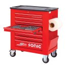 Workshop trolley S10 filled, 419 pieces, red