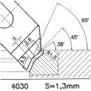 Formmesser 4030 C, 45°, Sitzbreite1,3 mm
