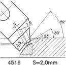 Formmesser 4515 B, 30°, Sitzbreite 1,5 mm