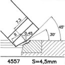 Formmesser 4557 B, 30°, Sitzbreite 4,5 mm