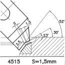Formmesser 4515 AX, 30°, Sitzbreite 1,5 mm