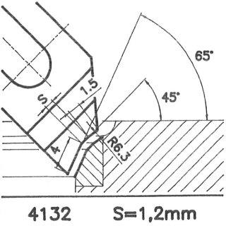 Formmesser 4132 A, 45°, Sitzbreite 1,2 mm, Sondermesser
