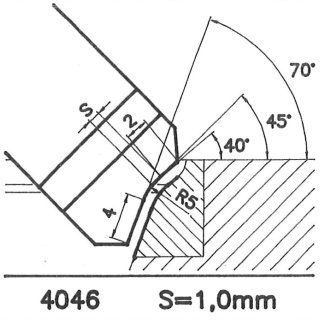 Formmesser 4046 A, 45°, Sitzbreite 1,0 mm, Sondermesser