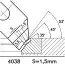 Formmesser 4038 AX, 45°, Sitzbreite 1,5 mm