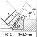 Formmesser 4012 B, 45°, Sitzbreite 2,0 mm