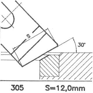 Formmesser 305 A, 30°, Sitzbreite 12,0 mm, Sondermesser