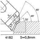 Formmesser 4182 B, 45°, Sitzbreite 0,8 mm, Sondermesser