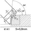 Formmesser 4141 B, 45°, Sitzbreite 0,8 mm