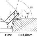 Formmesser 4122 BX, 45°, Sitzbreite 1,5 mm