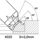 Formmesser 4025 B, 45°, Sitzbreite 2,0 mm