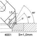 Formmesser 4001 B, 45°, Sitzbreite 1,0 mm, Sondermesser