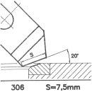 Formmesser 306 A, 20°, Sitzbreite 7,5 mm